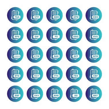 Set of vector file format icons