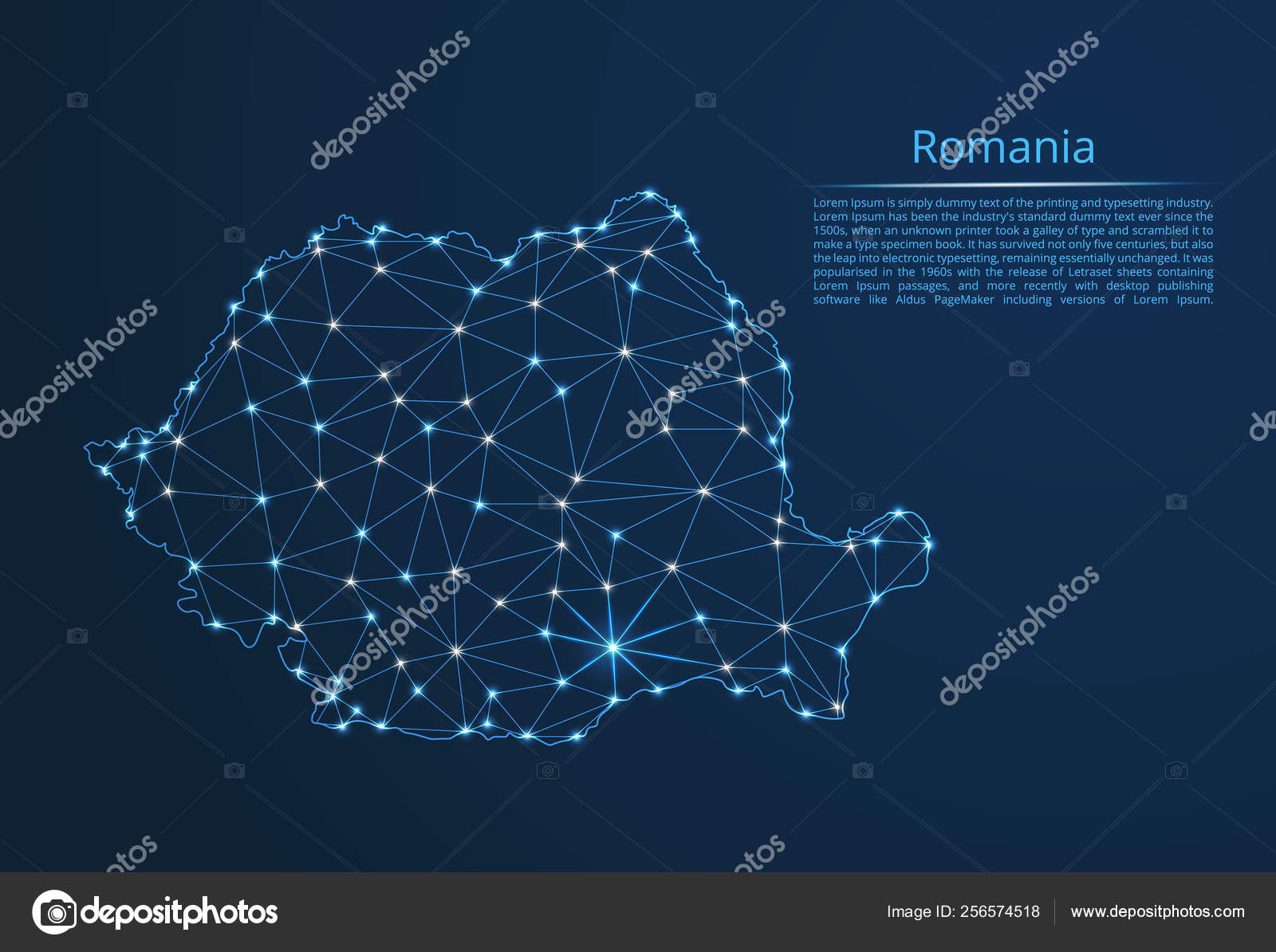 Romania communication network map  Vector low poly image of