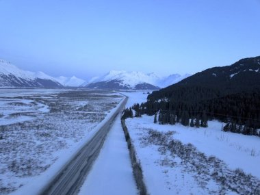 Winter views of Alaska's Kenai Peninsula and the Chugach mountains