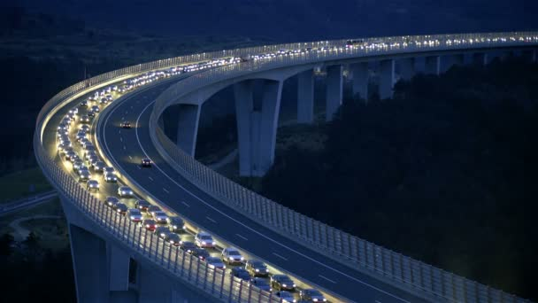 Traffic Jam on Highway on Slovenia highway at night