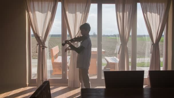 Spielen Sie Sonne auf junge im Wohnzimmer Violine 4k. Statische Aufnahme des jungen spielen in leere schönes Wohnzimmer mit großen Fenstern mit Ausgang zur Terrasse. Sonne durch Person mit Ausblick in die Natur draußen spielen