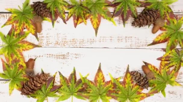 Zastavit animaci podzimního rámu listí a borových šišek
