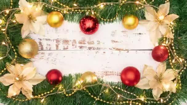 hurok animáció gyönyörű keret karácsonyi díszek és villogó fények