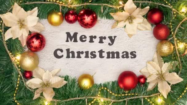 Vánoční dekorativní rám s veselým vánočním titulem uvnitř a blikajícími světly