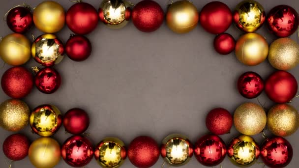 Merry Christmas title appear inside beautiful frame of gold and red balls