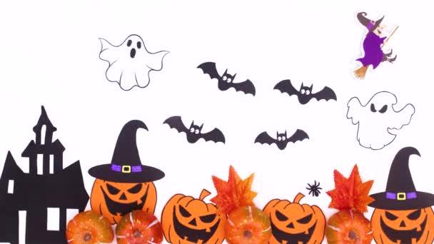 Boldog Halloween stop mozgást animáció. Halloween dekoráció fehér háttér