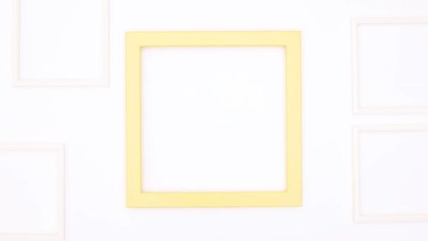Creative photo frame for text or logo on white theme. Stop motion