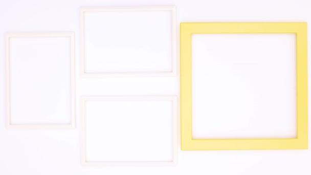 Kreativní foto rámec pro text nebo logo na bílém motivu. Zastavit pohyb