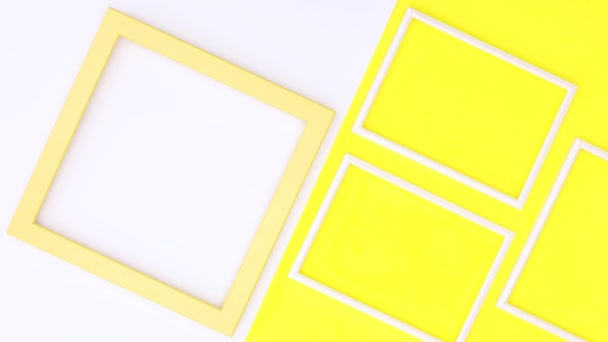 Creative photo frames on yellow theme. Stop motion