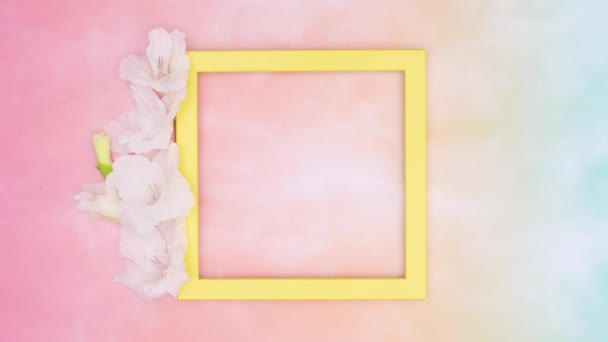 Yellow empty frame on colorful theme. Stop motion