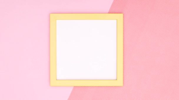 Make up and cosmetics products for woman with yellow frame for text or logo on pink theme. Stop motion