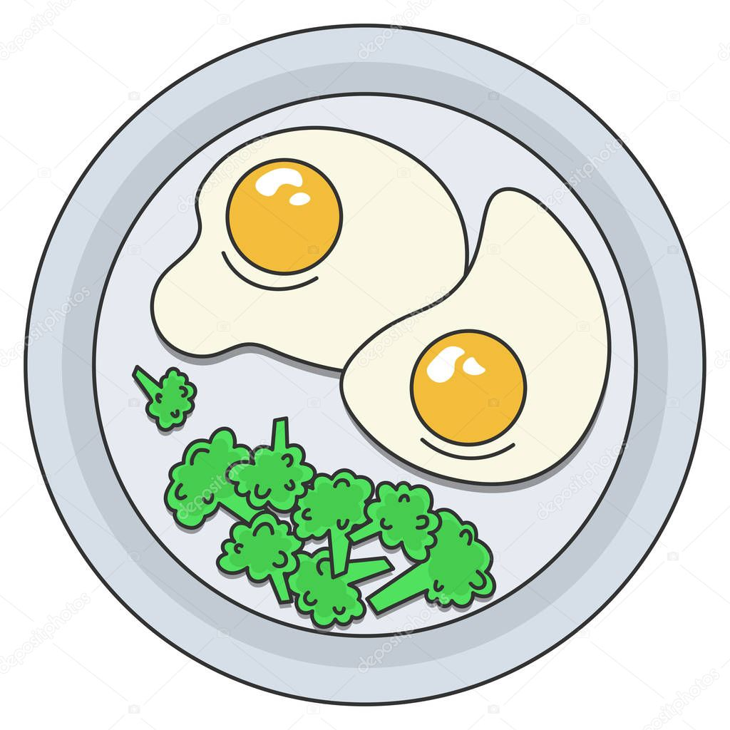 Vector Image Of A Plate Of Food Healthy Breakfast Tight Snack Fried Eggs Fried Eggs On A Plate With Broccoli Image For Restaurant Or Poster Menu Design Natural Organic Food Flat