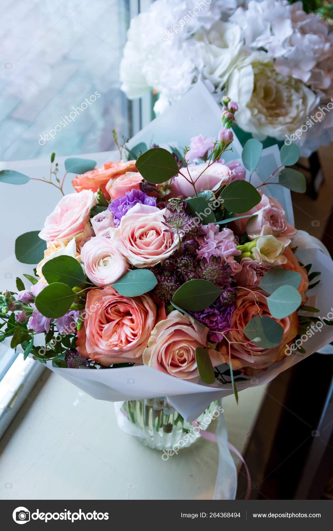 Bouquet Flowers Wedding Salon Roses Anemone Tulip Ranunculus Sunflower Garden Stock Photo C Plan905 264368494
