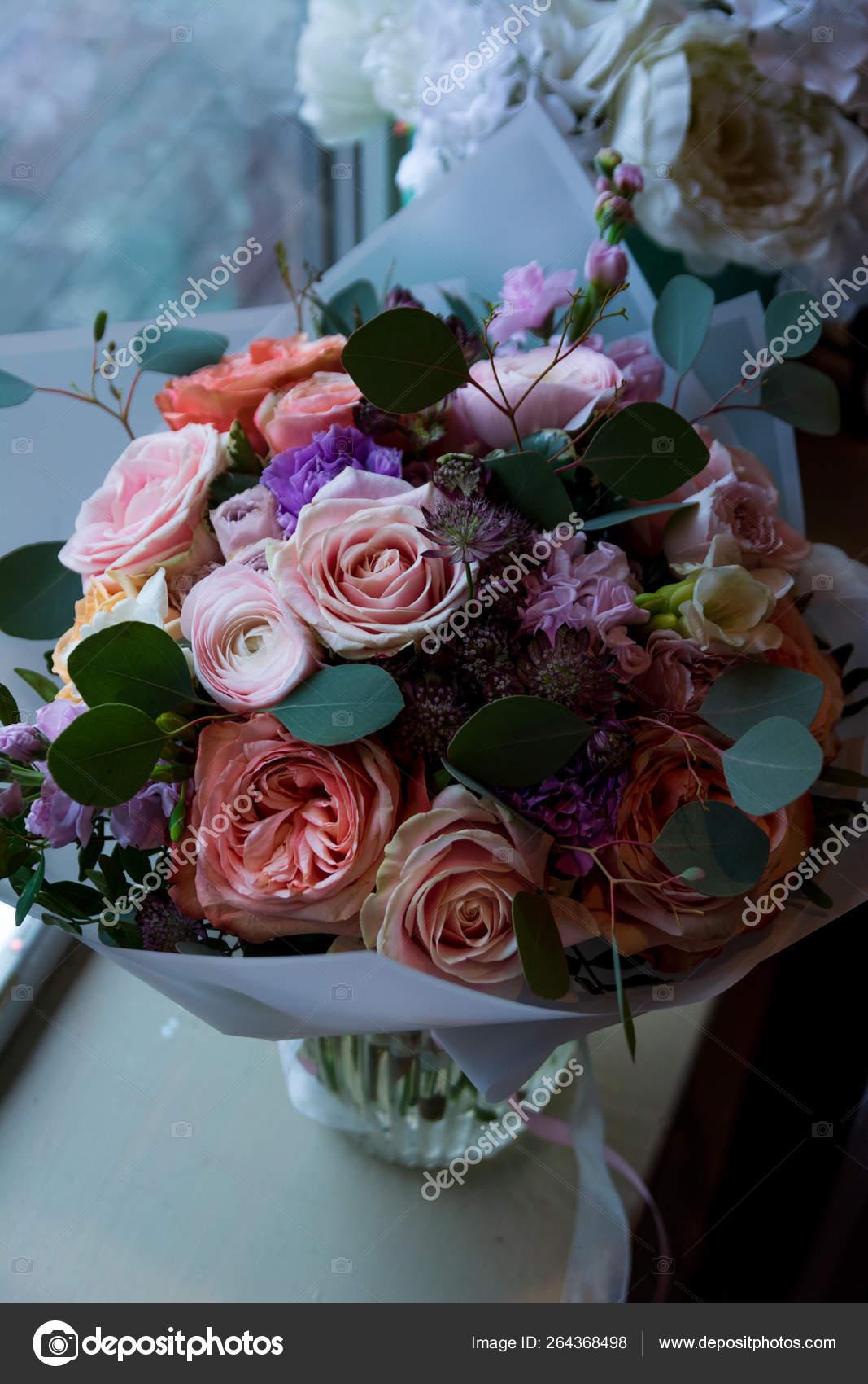 Bouquet Flowers Wedding Salon Roses Anemone Tulip Ranunculus Sunflower Garden Stock Photo C Plan905 264368498