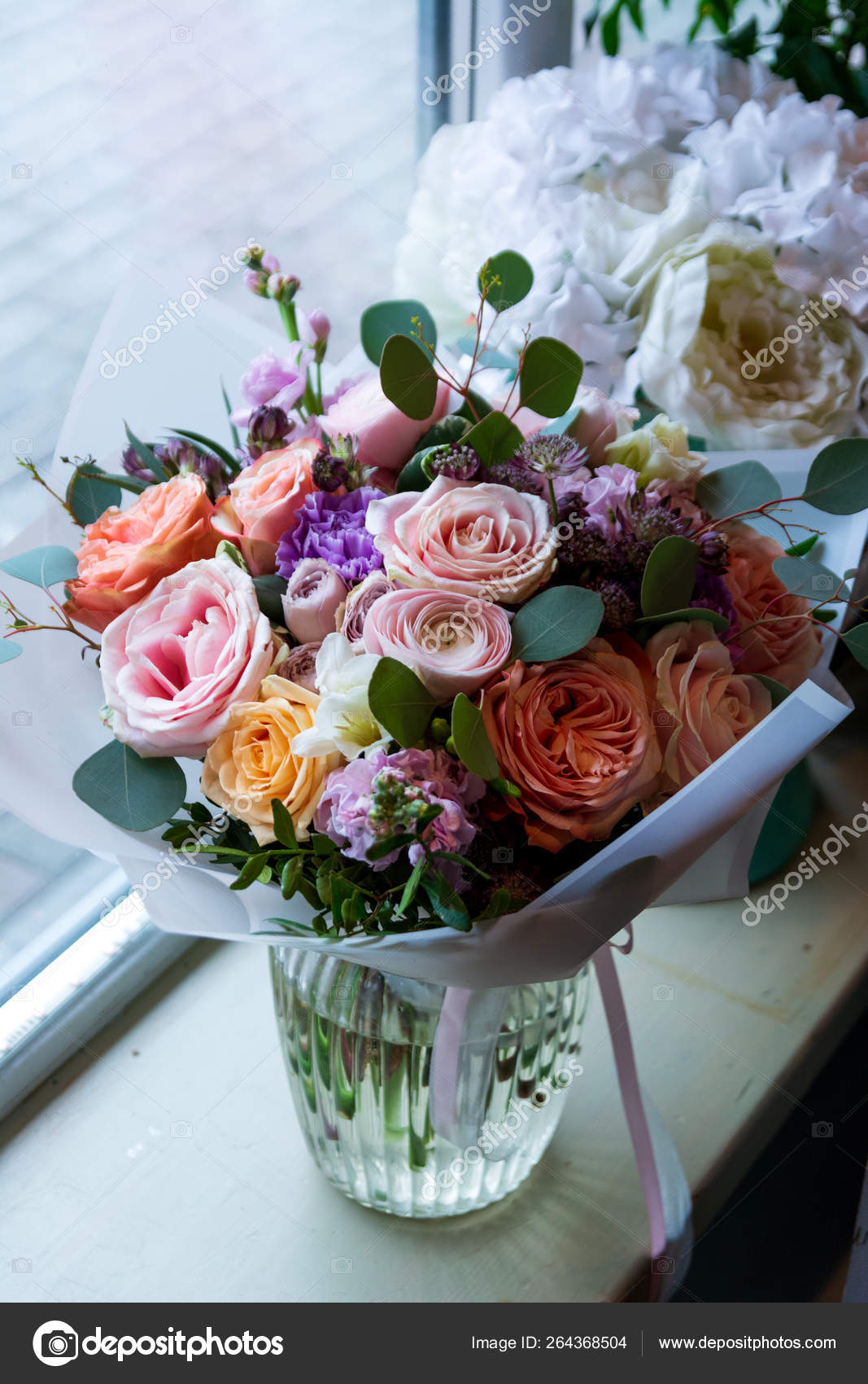 Bouquet Flowers Wedding Salon Roses Anemone Tulip Ranunculus Sunflower Garden Stock Photo C Plan905 264368504