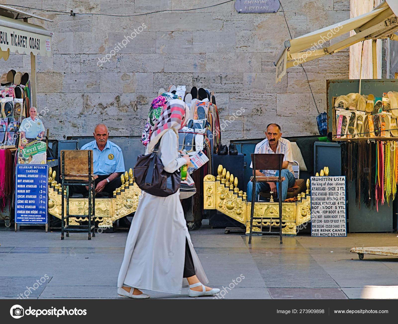 Istanbul Turkey 2010 Woman Headscarf Walking Traditional Shoe