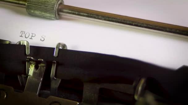 Typewriter Top Secret Confidential
