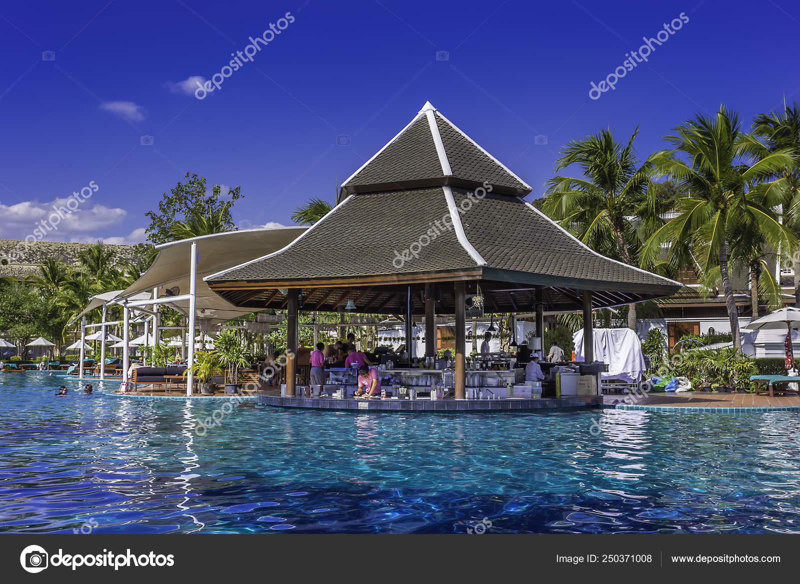 Beautiful Swimming Pool Tropical Resort Kraibi Thailand – Stock ...