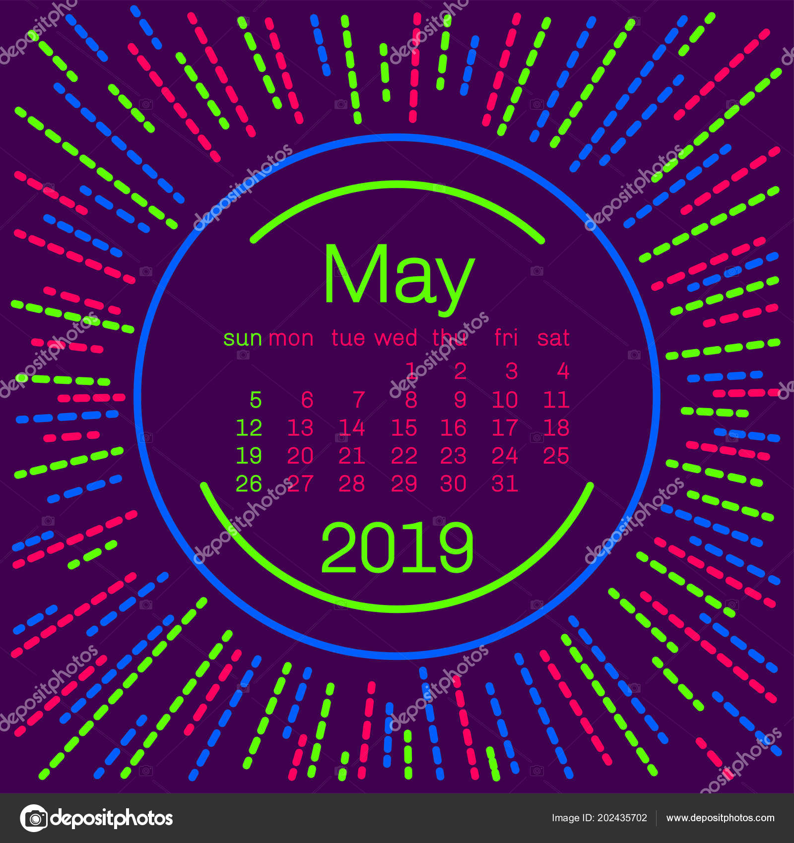 2019 May Calendar Page Memphis Style Poster Concept