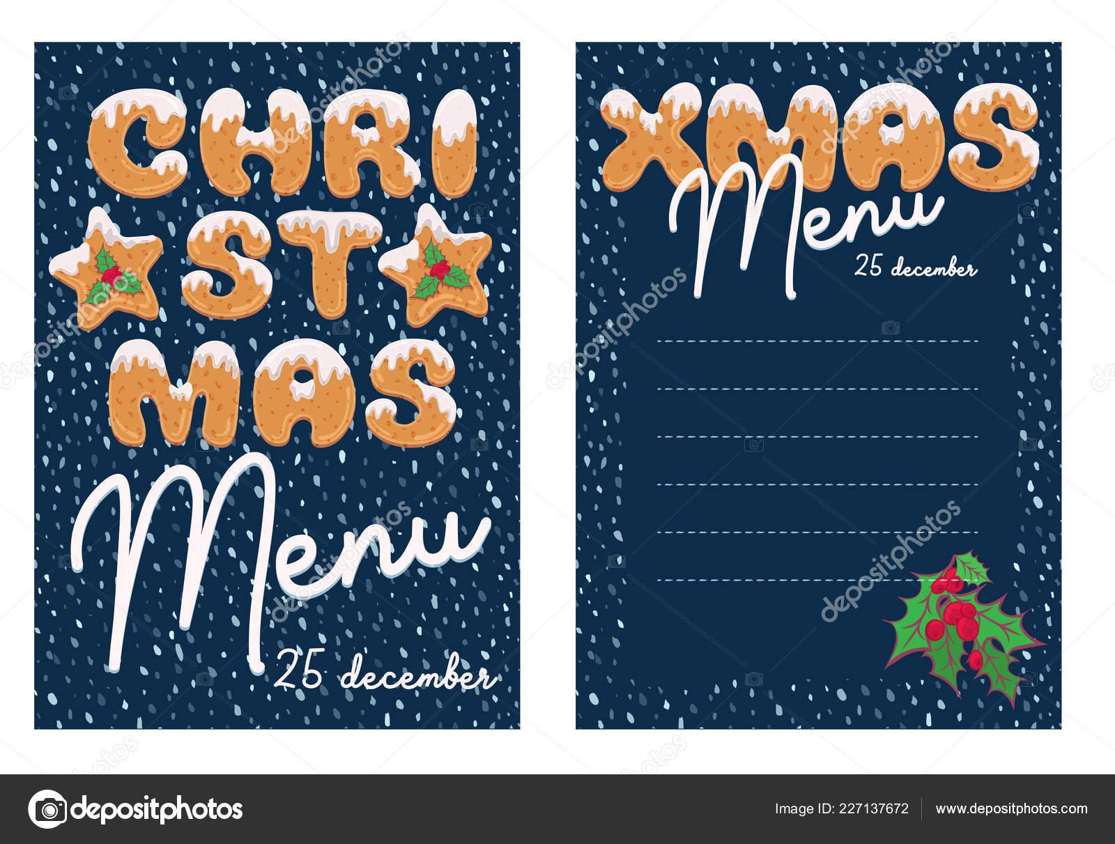 Dessin De Menu Pour Noel.Menu Noel Design Dans Style Dessin Anime Avec Forme Texte