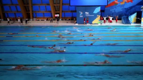 KAZAN, RUSSIA - 27 JULY 2015: athletes swimmers train in a pool of Aquatics Palace. 16th FINA World Championships