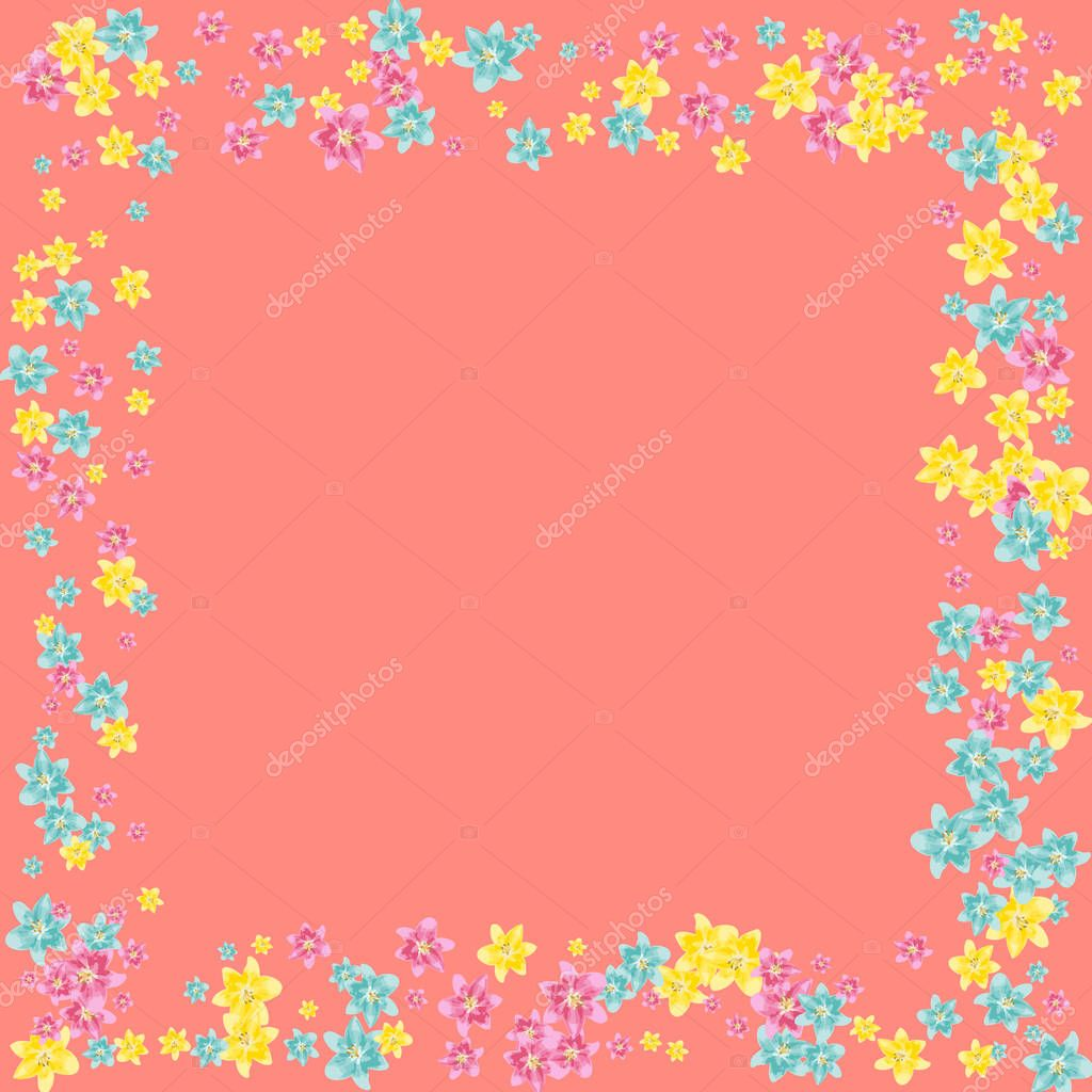 Multicolored lilies on a pink background.
