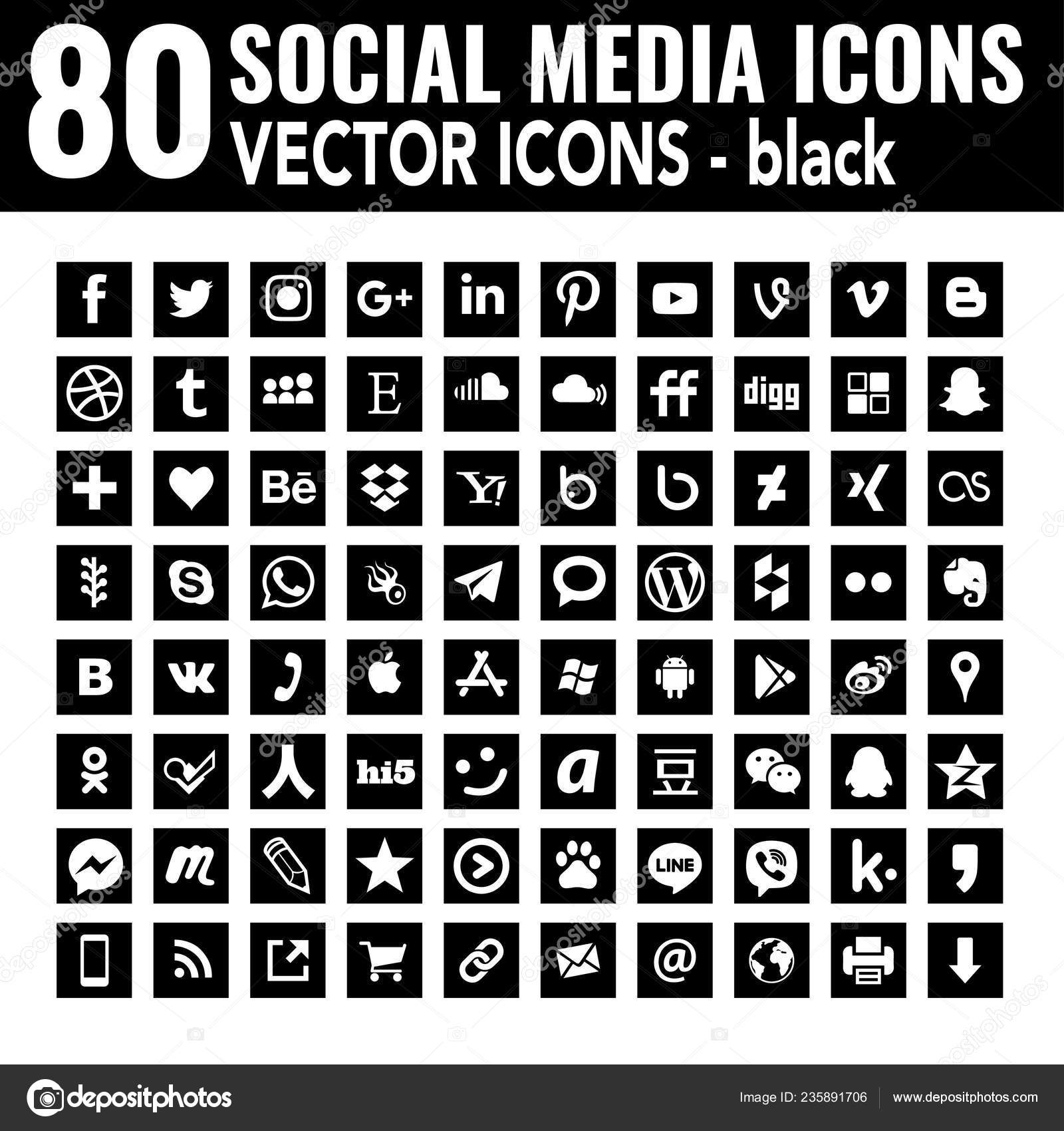 Black And White Social Media Icons For Email Signature Flat Icons Black White Square Vector Social Media Icons Base Stock Vector C Dadartdesign 235891706
