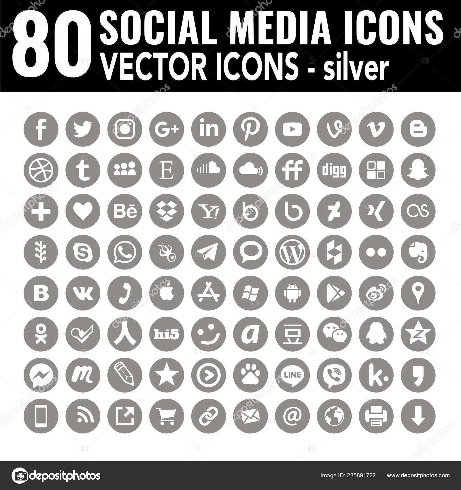 Light Gray Social Media Icons Light Grey Social Media Icons Elegant Flat Complete Collection Web Stock Vector C Dadartdesign 235891722