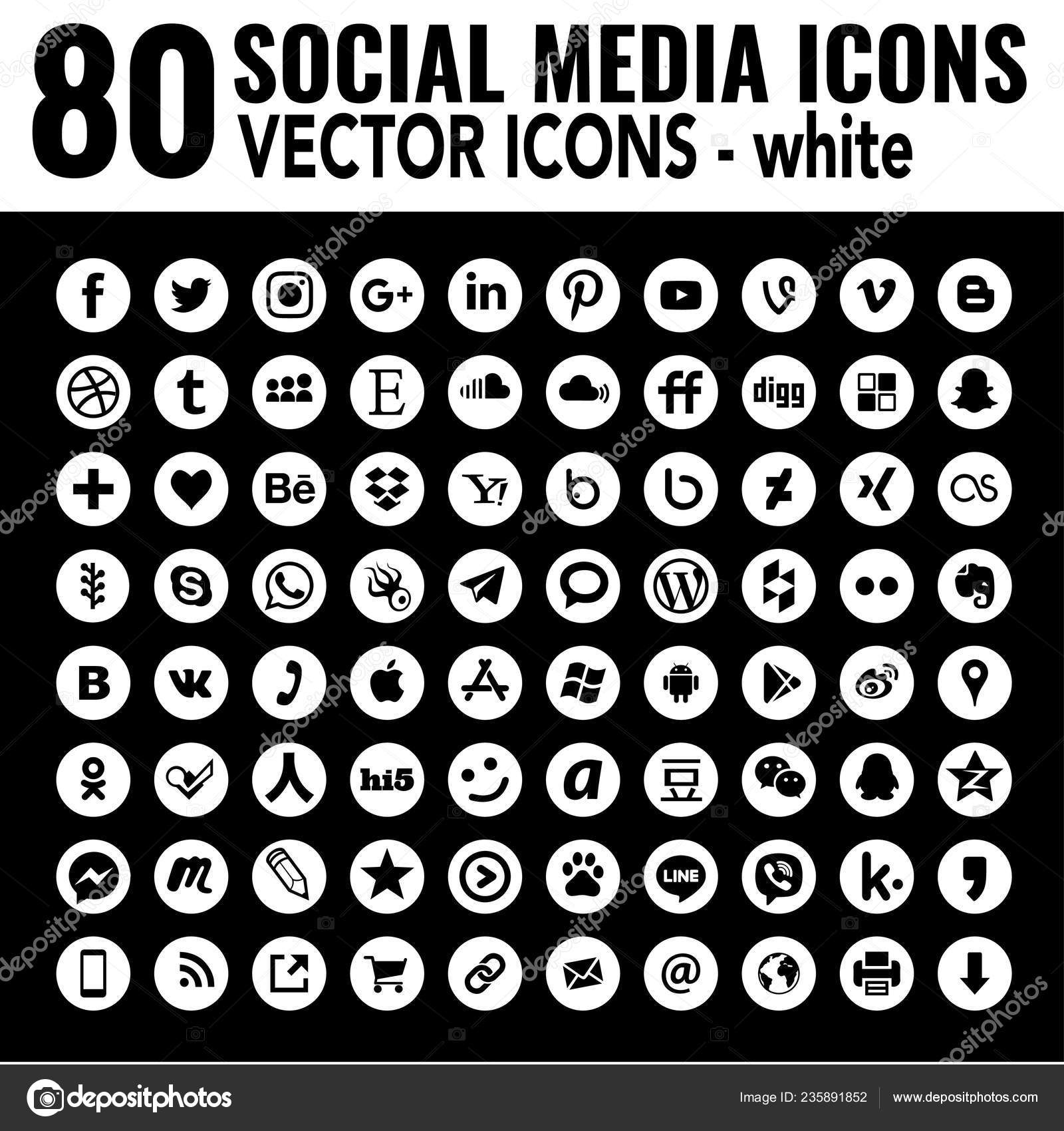 White Social Media Icons Must Have Vector Icon Collection Last Stock Vector C Dadartdesign 235891852