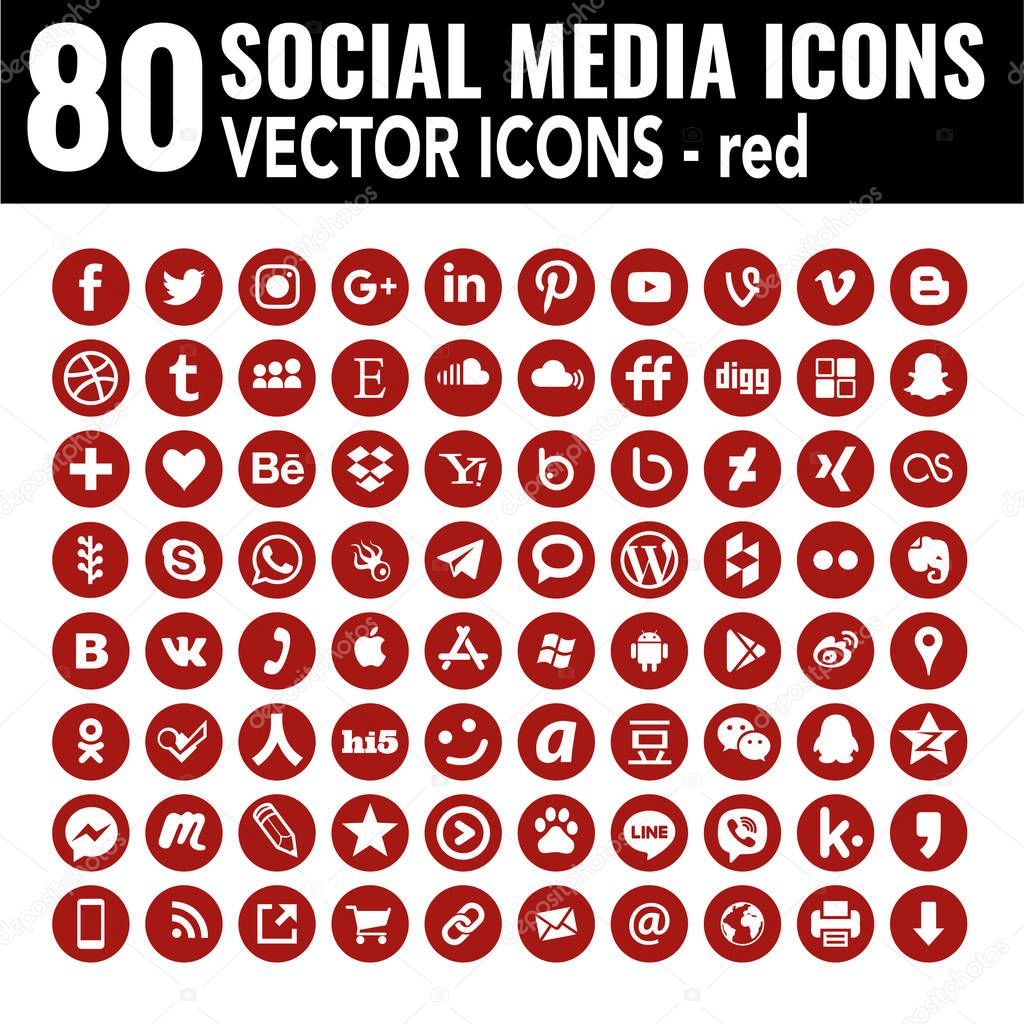 Red Social Media Icons Round Flat Vector Iconset Containig All Popular Social Media Around The Word High Quality Design Elegant Look Useful For Web Design Graphic Design Printing Email Sigantures Stationery