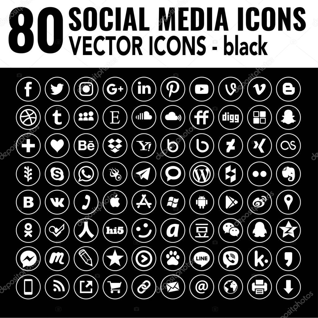 Line Social Media Icons Round Black And White Elegant Vector Iconset The New Version Of Most Popular World Social Media Great For Web Design Graphic Design Ux Ui Email Signatures