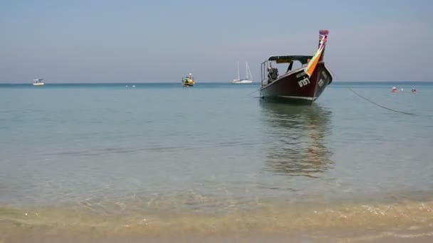 Tonsai Beach bay with traditional longtail boats, Thailand