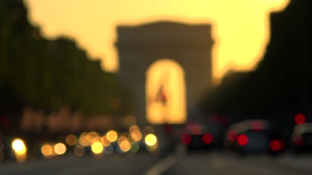 Paris, France, Arch of triumph and Champs Elysees at night