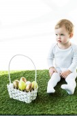 cute kid sitting near straw basket with colorful Easter eggs isolated on white