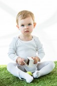 adorable kid sitting on green grass with white cardboard box and yellow chicken egg isolated on white
