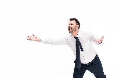 excited chubby man in formal wear with outstretched hands isolated on white with copy space