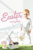 cute babystanding with wicker basket on green grass near golden quail eggs, happy Easter to everyone lettering and rabbit blowing soap bubbles illustration