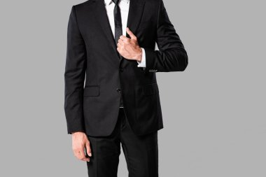 Partial view of elegant businessman in black suit and tie isolated on grey stock vector