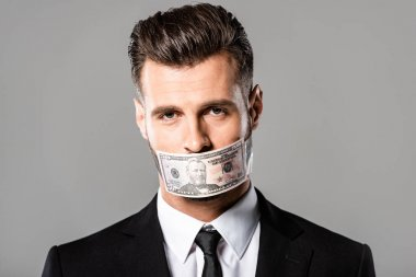businessman in black suit with dollar banknote on mouth isolated on grey