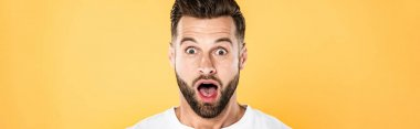panoramic shot of shocked handsome man in white t-shirt with open mouth isolated on yellow