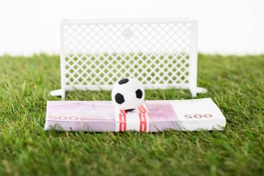 toy soccer ball on euro banknotes near miniature football gates on green grass isolated on white, sports betting concept