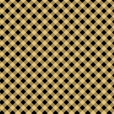 Gingham seamless yellow and black pattern. Texture from squares for plaid, tablecloths, clothes, shirts, dresses, paper, bedding, blankets, quilts and other textile products. Vector illustration EPS 1