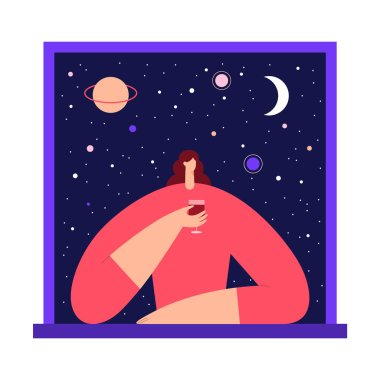 Woman with glass of wine in the window, enjoying the view of night starry sky and moon. Female modern character and space exploring. Flat vector illustration.