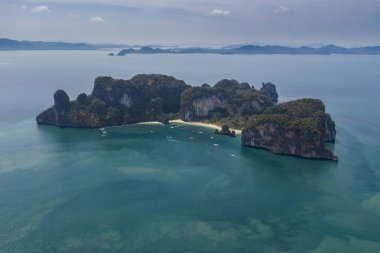 Aerial view of tropical island with turquoise blue water in Andaman sea, Ko hong, Thailand