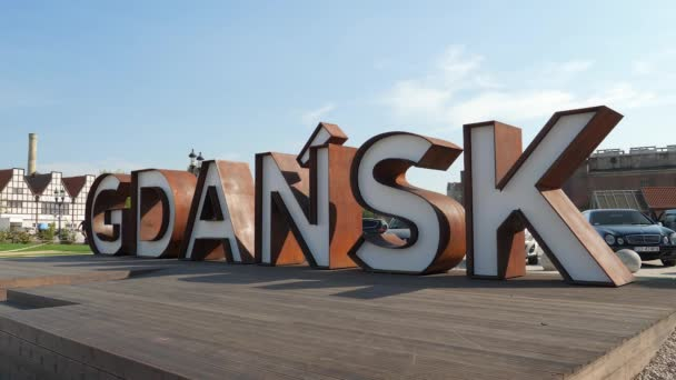 GDANSK, POLAND - SEPTEMBER 2018:  Gdansk, Poland. The inscription Gdansk in the old town.