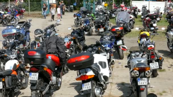 TOLKMICKO, POLAND - MAY 2016: Motorcycle rally. Motorbikes on a car park