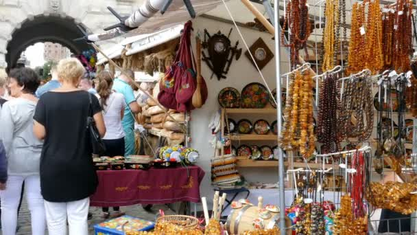 GDANSK, POLAND - JULY 2016: Gdansk, Poland. Famous St Dominic Fair. Stall with souvenirs