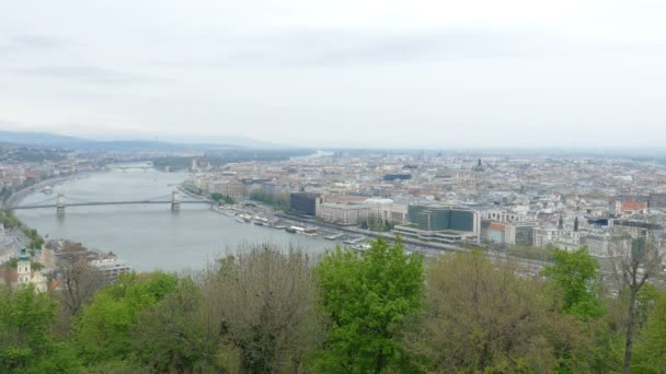 Aerial view at Budapest and Danube river, Hungary