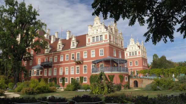 BAD MUSKAU, GERMANY - SEPTEMBER 2018: New Castle in Muskauer Park. Cross-border park placed in Germany and in Poland