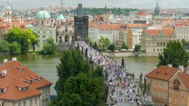 Prague, Czech Republic. Charles bridge. Wide view from above